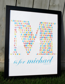 Style: Initial is for ... child's name  candy colours print