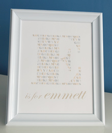 Style: Initial is for ... child's name  beige print
