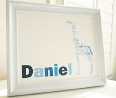 Style: Giraffe with child's name blue print